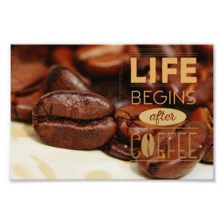 La vie commence après café photo sur toile