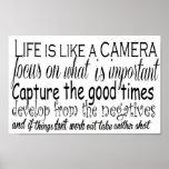 La vie est comme un appareil-photo affiches