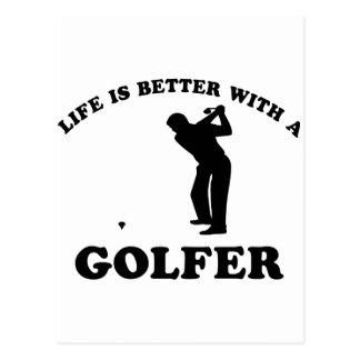 La vie est meilleure avec un golfeur cartes postales
