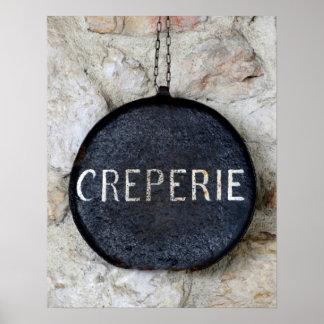 La vieille casserole Creperie de crêpe signent Poster