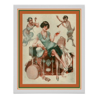 """La Voyage"" Art Deco Print 16 x 20"
