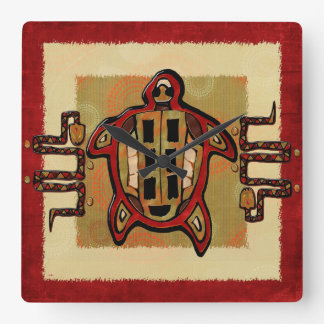 Laako'ob Uchben Mayan Folk Art DECOR Square Wall Clock