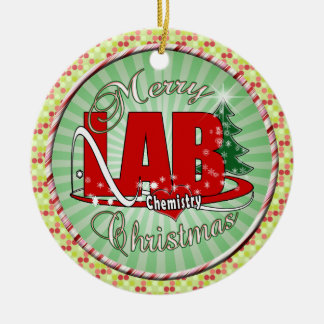 LAB CHEMISTRY CHRISTMAS ROUND CERAMIC ORNAMENT