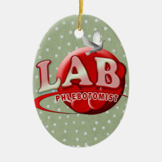 LAB PHLEBOTOMIST RBC LOGO CERAMIC OVAL ORNAMENT