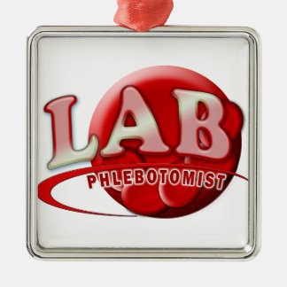 LAB PHLEBOTOMIST RBC LOGO Silver-Colored SQUARE ORNAMENT