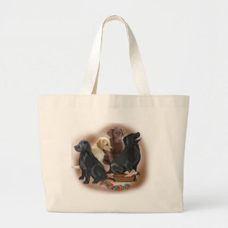 Lab puppies with toys large tote bag