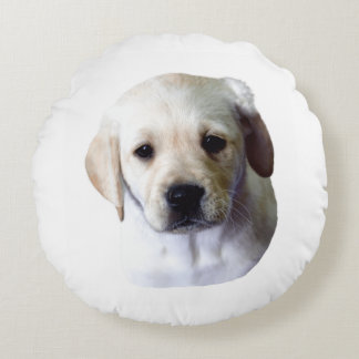 Lab Puppy Face Round Pillow