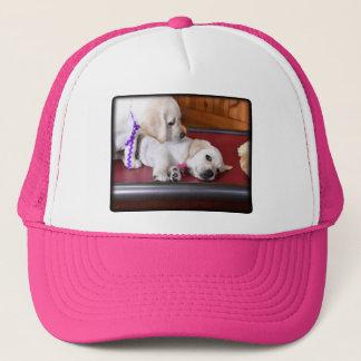 Lab Puppy Looking Down Trucker Hat