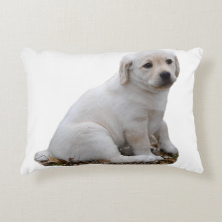 Lab Puppy Sitting Decorative Pillow