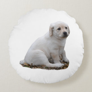 Lab Puppy Sitting Round Pillow