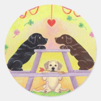 Lab Romance Valentine Round Sticker
