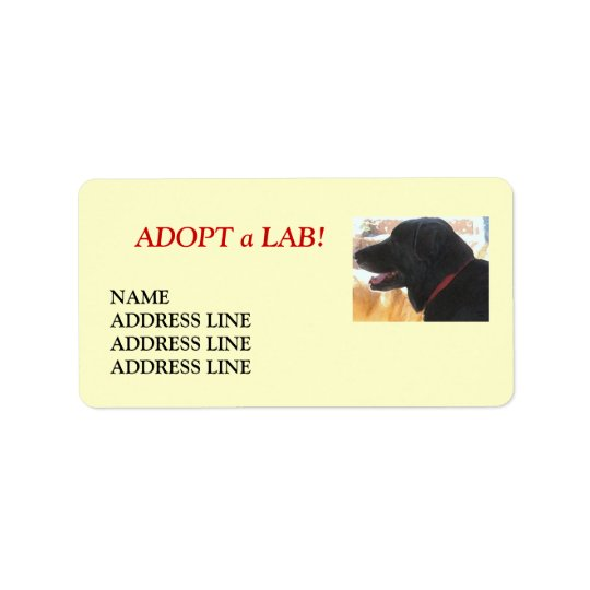 Lab Shelter Dog Adoption - Western Return Address Label
