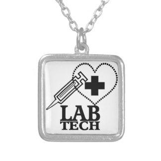 LAB TECH HEART. SYRINGE LOGO MEDICAL LABORATORY SC SQUARE PENDANT NECKLACE