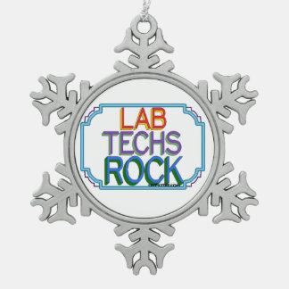 Lab Techs Rock Pewter Snowflake Ornament