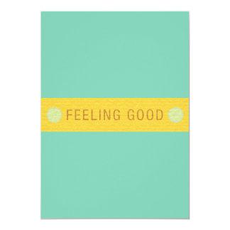 "LABEL2 FEELING GOOD LAUGH HAPPY MOTTO SAYINGS ATTI 5"" X 7"" INVITATION CARD"