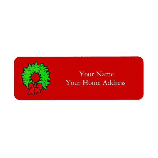 Label Address Label with Christmas Wreath