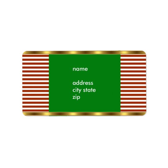Label Address Red White Stripe Gold Trim
