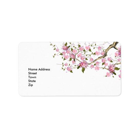 Label Address Sticker Vintage Retro blossoms