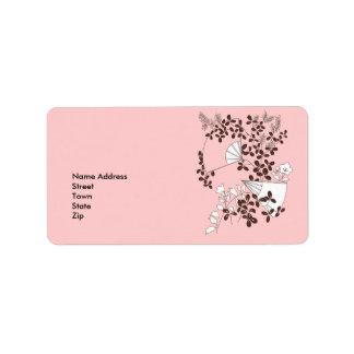 Label Address Sticker Vintage Retro Floral Fans