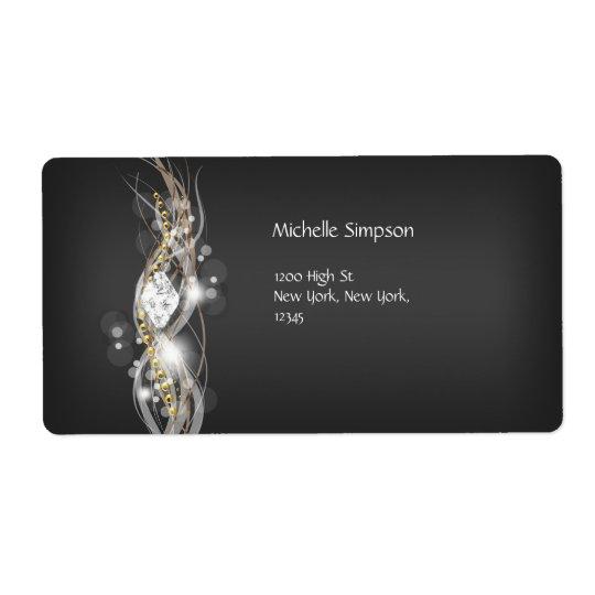 Label Black Grey White Gold Diamond Address