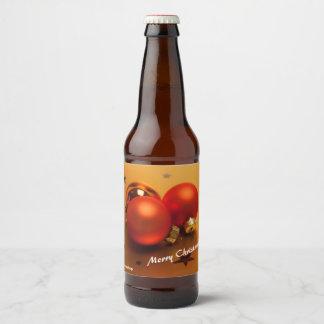 Label Bottle with Orange Christmas Balls