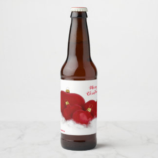 Label Bottle with Red Hearts for Christmas
