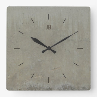 LABEL CONCRETE SMOOTH   industrial decor Square Wall Clock