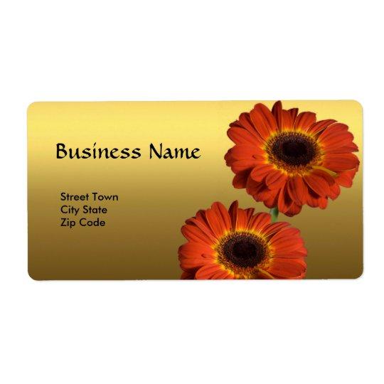 Label Elegant Personal Business Gold Orange Flower