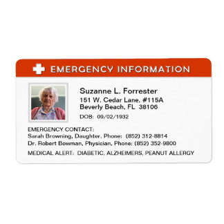 Label - Emergency Info Contact and Medical ID Shipping Label