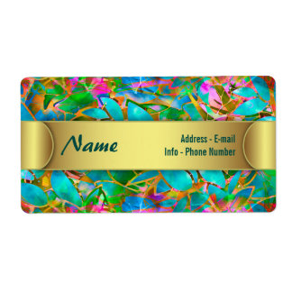 Label Floral Abstract Stained Glass