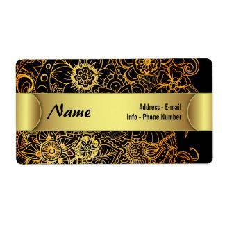 Label Floral Doodle Gold G523