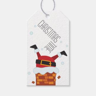 Label for Christmas gift Santa Stuck
