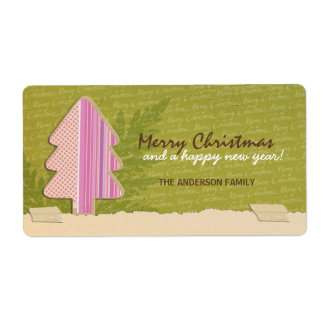 Label Gift - Pink Papercarft Merry Christmas Shipping Label