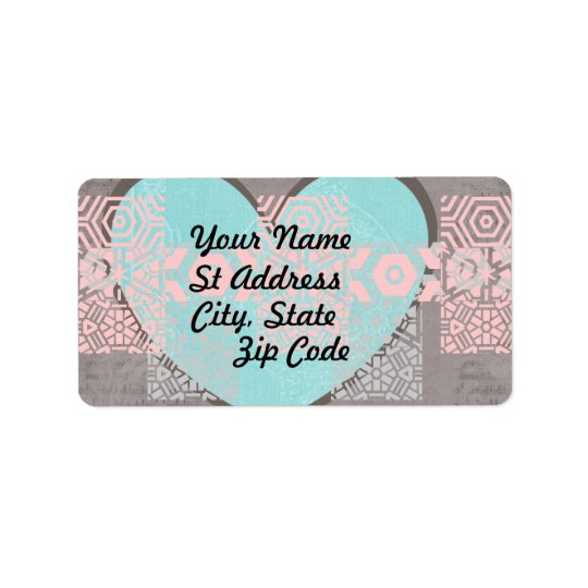 Label, Grey, and  White, Blue Heart, Pink Grunge Label
