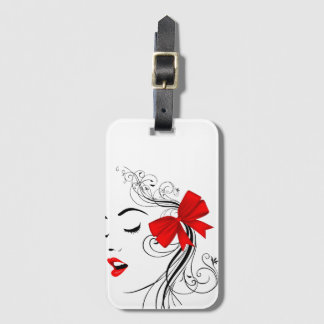 """Label of luggage """"Girl With Tie """" Luggage Tag"""
