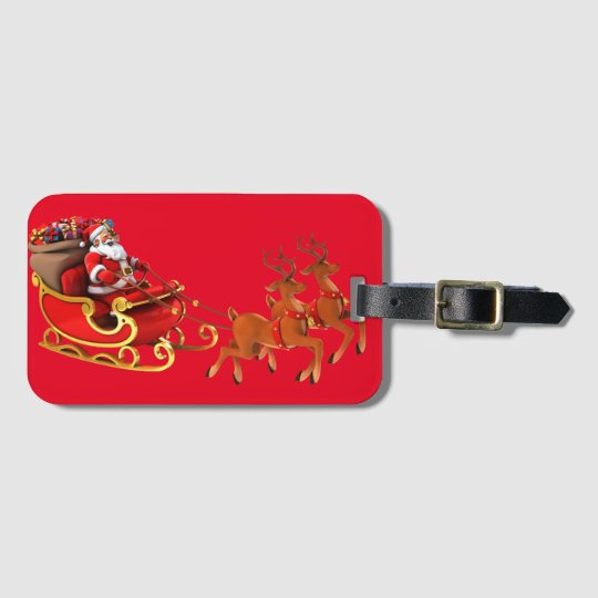 """Label of luggage """"Papa Noel and its sleigh """" Bag Tag"""
