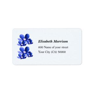 Label Pretty Blue Flowers