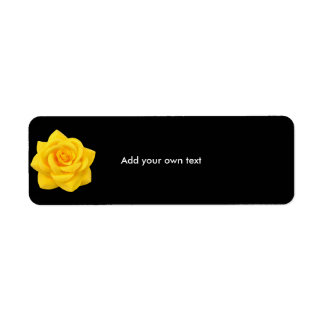 Label Sticker Black & Yellow Flower Return Address Label
