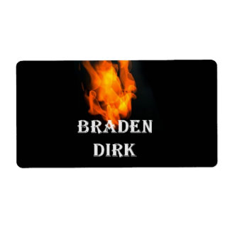 Label #TeamBraden flame Shipping Label