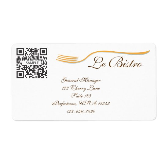 Label Template Fine Dining French
