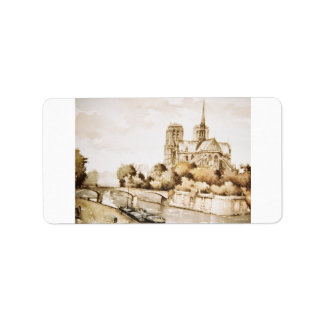 Label with Notre Dame Cathedral image in colour