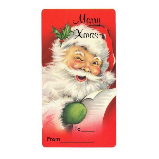 Label Xmas Gift Sticker Tags Christmas Vintage San
