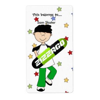 Labels Stickers Bookplate Boy Skateboard