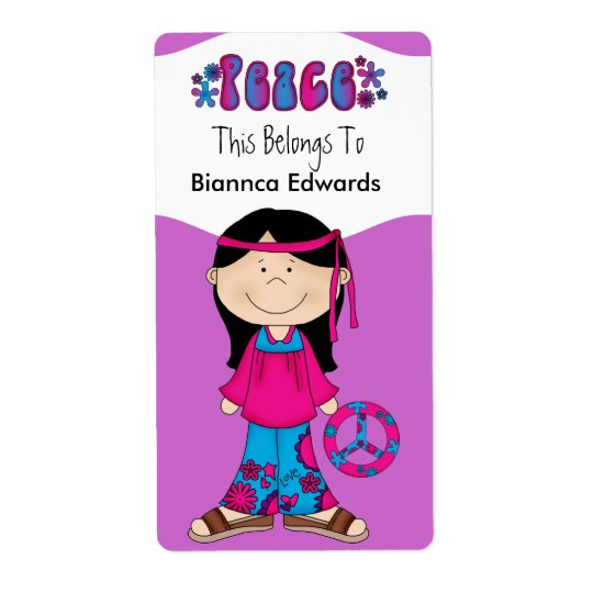 Labels Teens Kids Retro Peace Book Plate Binder