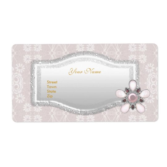 Labels Wedding Address Elegant Lace Silver Floral