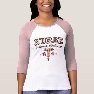 Labor and Delivery Nurse Pink Caduceus Raglan T-Shirt