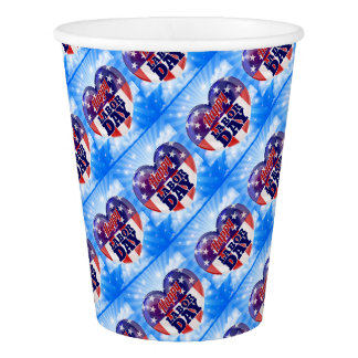 Labor Day American Flag Heart Paper Cup