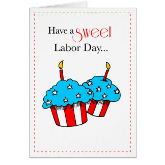 Labor Day Patriotic Cupcakes Card