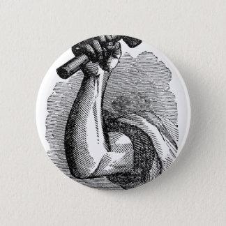 Labor Hand Holding Hammer 2 Inch Round Button