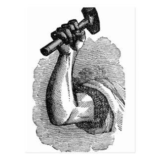 Labor Hand Holding Hammer Postcard